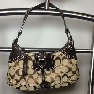 Coach signature jacquard small shoulder purse